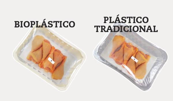 Bandeja de bioplástico vs plástico tradicional