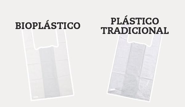 Bolsas reutilizables de bioplástico vs plástico tradicional