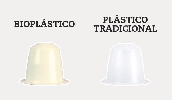 Capsulas de café de bioplástico vs plástico tradicional