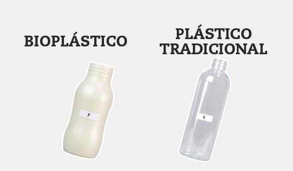 Bote de champú de bioplástico vs plástico tradicional