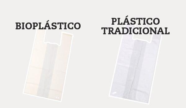 Bolsas de un solo uso de bioplástico vs plástico tradicional