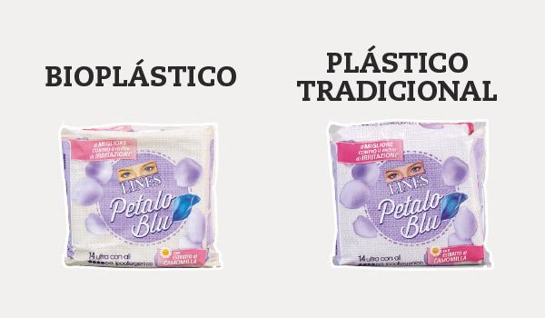 Paquete de compresas de bioplástico vs plástico tradicional