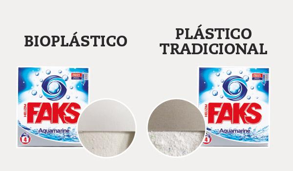 Envases de detergente de bioplástico vs plástico tradicional